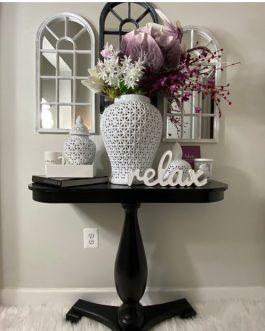 Lattice Vases window pane Mirrors and flowers