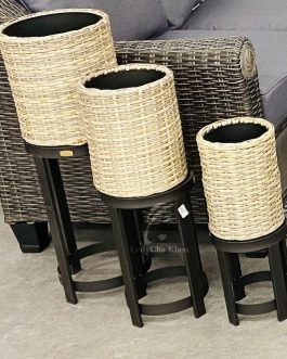 Patio wicker plant stands set